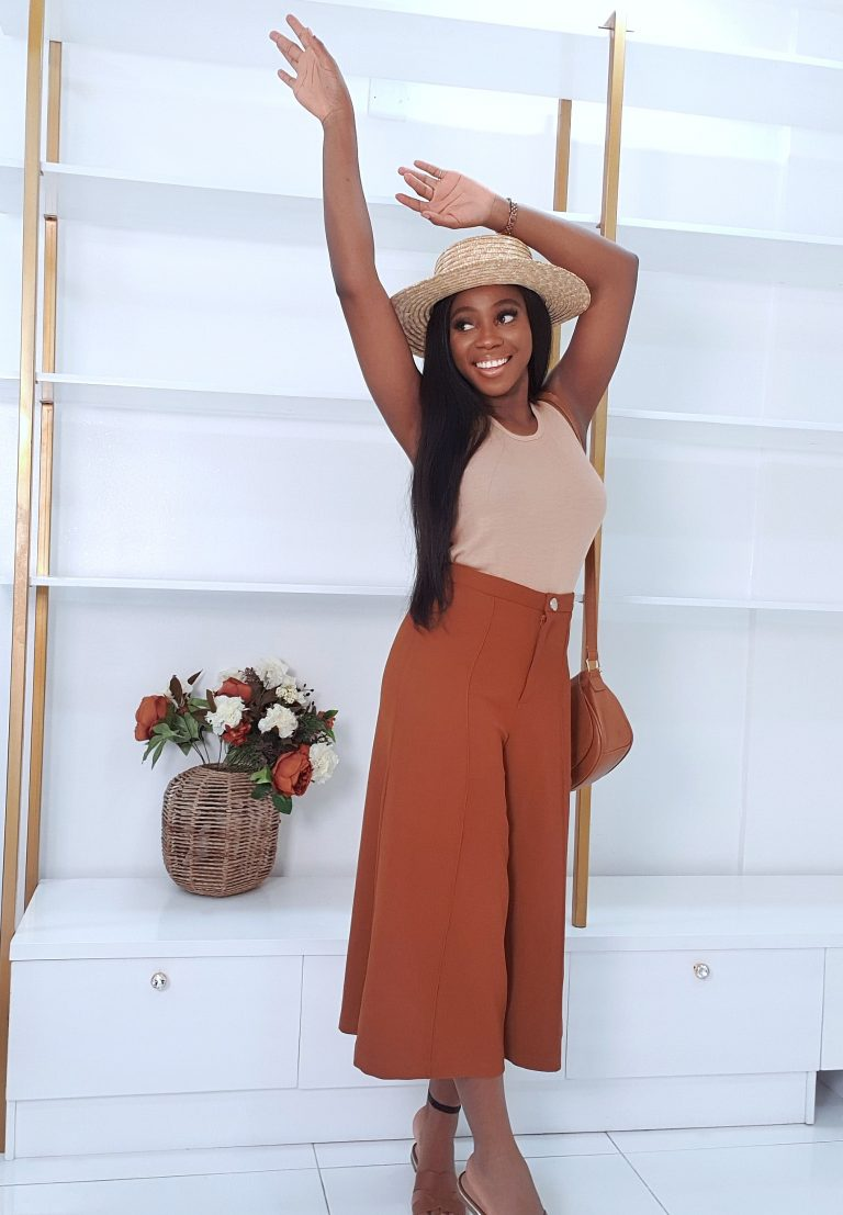 summer ready culottes styled nude body suit, a straw hat and cross body bagperfect for a beach day